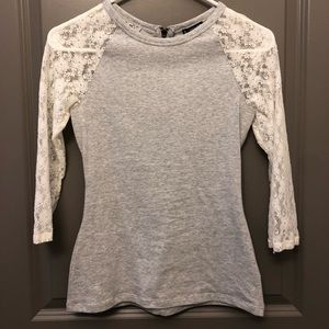 Express gray lace top